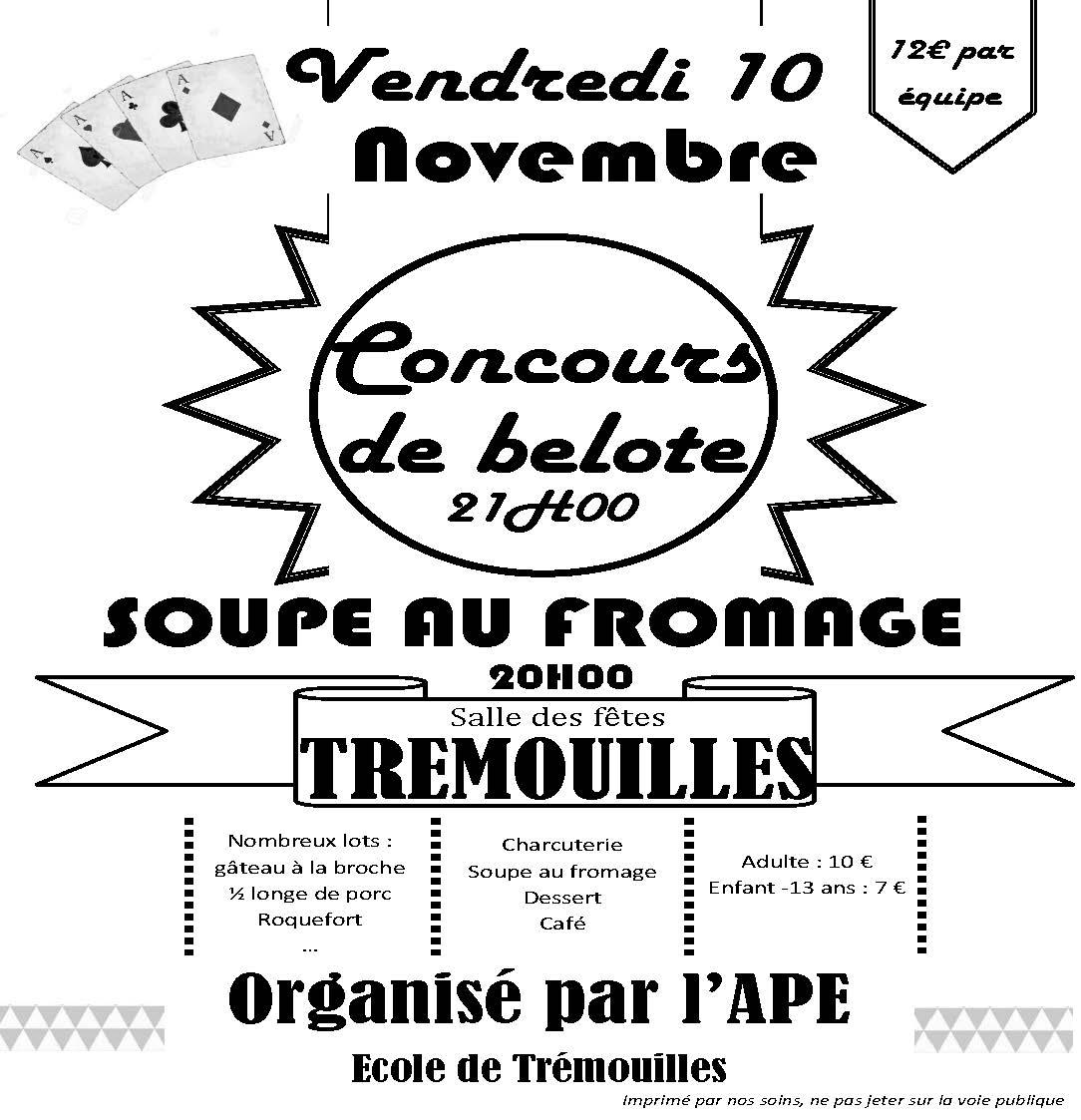 Soupe au fromage et concours de belote tremouilles 10 - Inscription 12 coups de midi numero de telephone ...